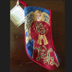 Small Christmas Stocking Needlepoint Angel Cotton